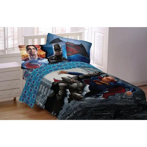 4pc Batman Vs Superman Full Bed Sheet Set World S Finest Superheroes Bedding Accessories Dc Comics Target