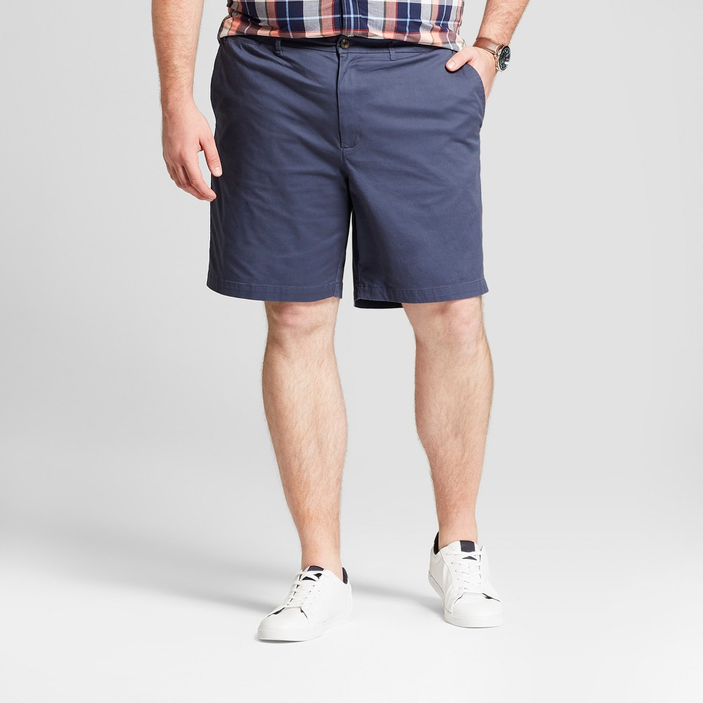 Men's Big & Tall 9 Chambray Linden Flat Front Chino Shorts - Goodfellow & Co Blue 52, Geneva Blue