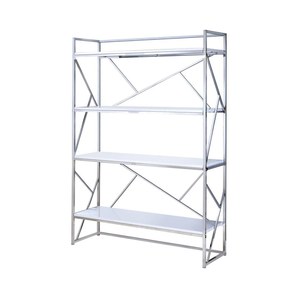 "Image of ""70.25"""" Netherton Contemporary Open Shelves Book Case White High Gloss/Chrome - ioHOMES"""
