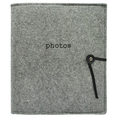 Felt Photo Album Gray - Holds Two 4 x6  Photos per Page