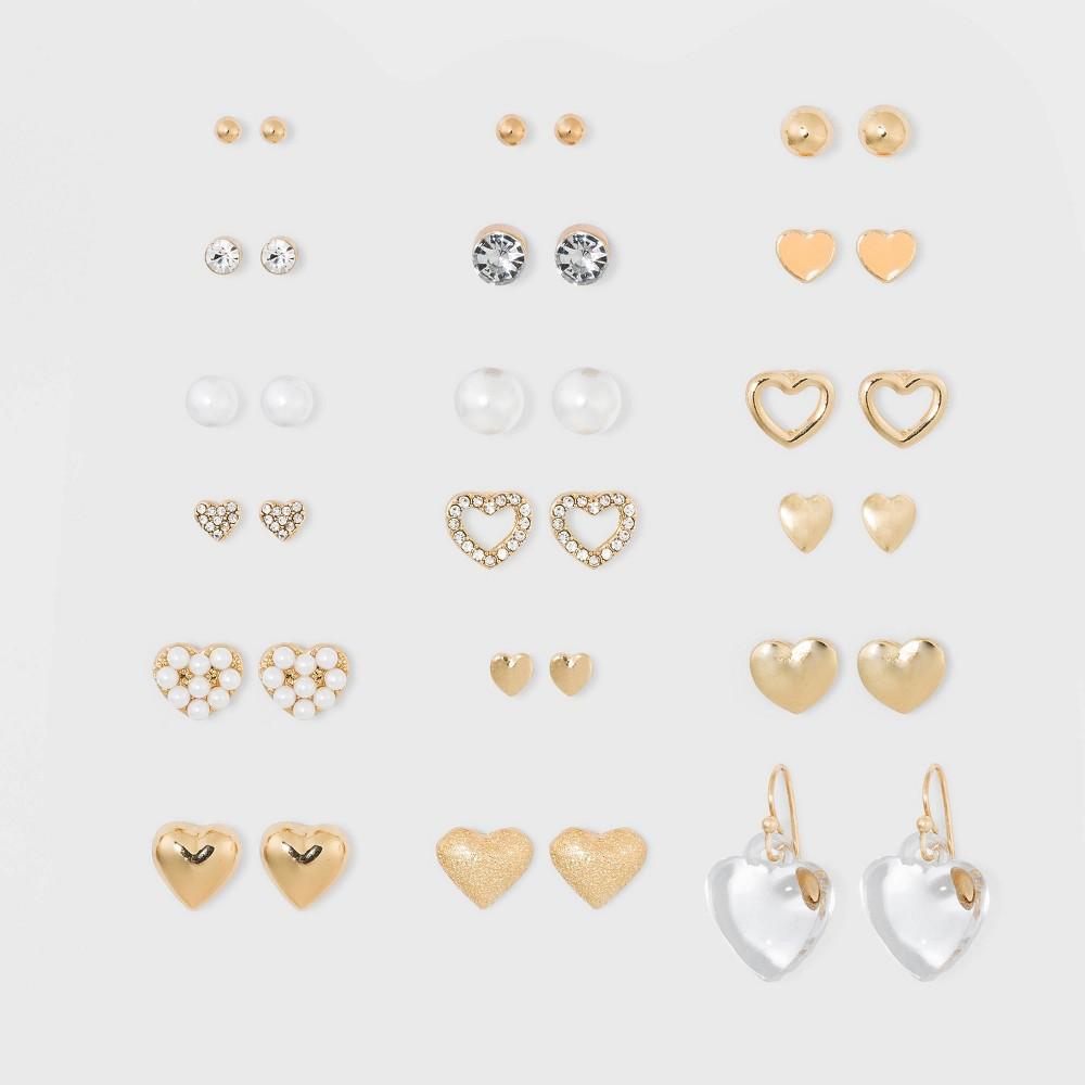 Image of Zinc Steel Brass Glass Multipack Earrings - Wild Fable Bright Gold, Women's