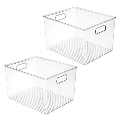 mDesign Storage Organizer Bin with Handles for Cube Furniture, 2 Pack