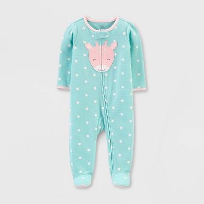 Baby Girls' Dots Giraffe Interlock Sleep 'N Play 1pc Pajama - Just One You® made by carter's Light Green 9M