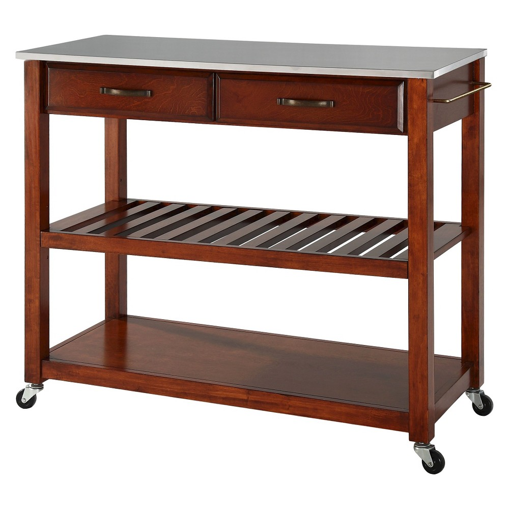 Stainless Steel Top Kitchen Cart/Island With Optional Stool Storage - Classic Cherry (Red) - Crosley