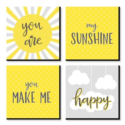 Big Dot of Happiness You are My Sunshine - Kids Room, Nursery Decor and Home Decor - 11 x 11 inches Kids Wall Art - Set of 4 Prints