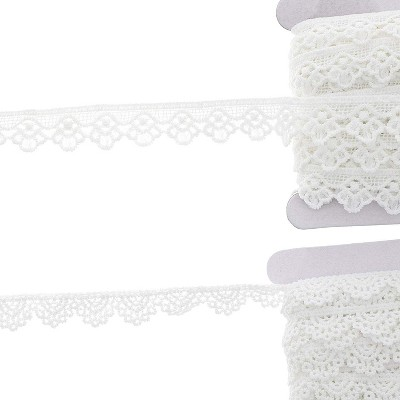 Crochet Lace Ribbons, 15-Yard Rolls (White, 0.5 and 0.7 in Wide, 2-Pack)