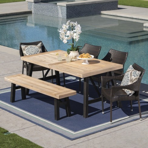 Hensley 6pc Acacia & Wicker Dining Set - Gray/Brown - Christopher Knight Home - image 1 of 5