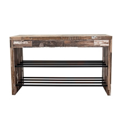 Industrial Shoe Bench with Metal Storage Racks Distressed Wood - Danya B.