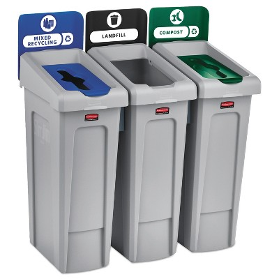 Rubbermaid Commercial Slim Jim Recycling Station Kit, 69 gal, 3-Stream Landfill/Mixed Recycling