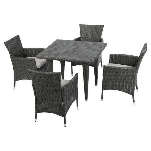 Malta 5pc Wicker Patio Dining Set with Cushions - Gray - Christopher Knight Home
