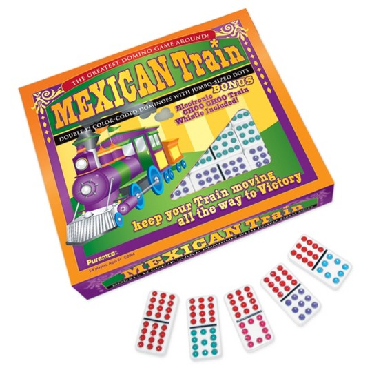 Puremco Mexican Train Double 12 Color Dot Dominoes - Professional Size Game image number null