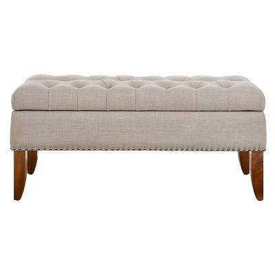 Mullen Beige Hinged Top Button Tufted Storage Bed Bench - Beige - Pulaski