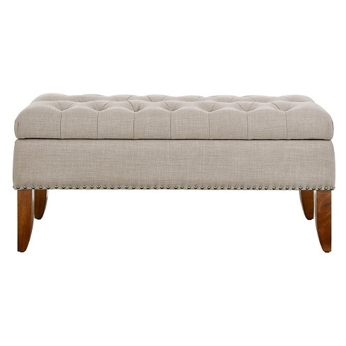 Mullen Hinged Top Button Tufted Storage Bed Bench - Pulaski - image 1 of 7