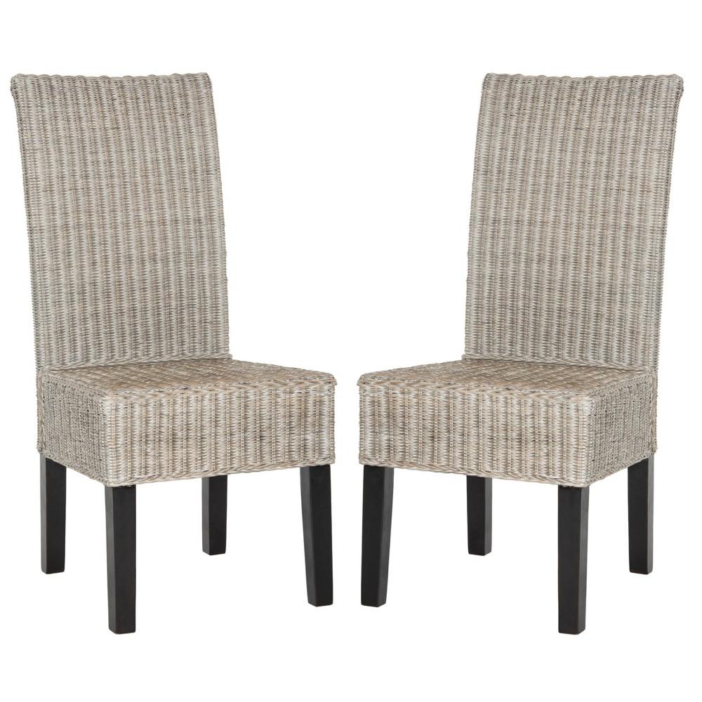 Set Of 2 Arjun Wicker Dining Chair Gray Safavieh