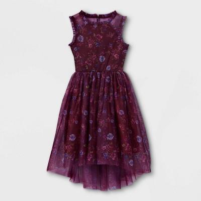 Zenzi Girls' Floral Mesh Dress - Burgundy