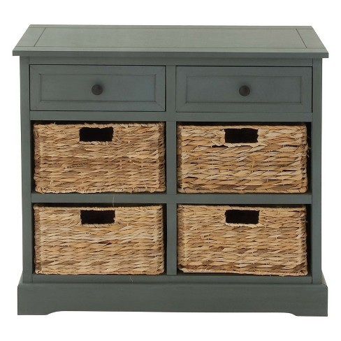Wood Console 4 Wicker Baskets 2 Drawers Blue Olivia May Target