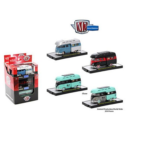 Auto Thentics 3 Cars Set of 1959 Volkswagen Double Cab Truck w/ Campers IN PLASTIC CASES 1/64 by M2 Machines - image 1 of 1