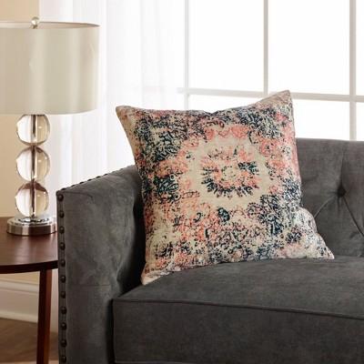 "18""x18"" Cameo Distressed Print Velvet Throw Pillow Blush - Sure Fit : Target"