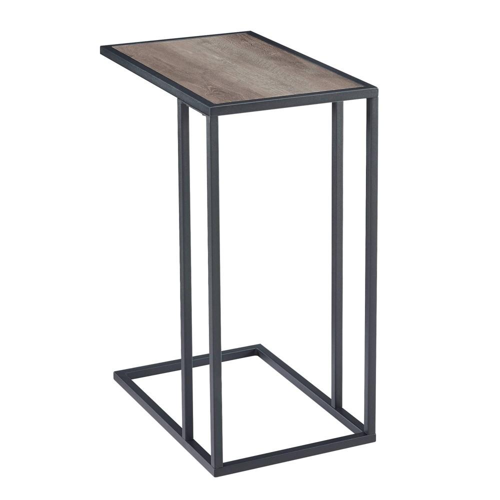 20 34 Modern Two Tone C Side Table With Metal And Wood Gray Wash Saracina Home