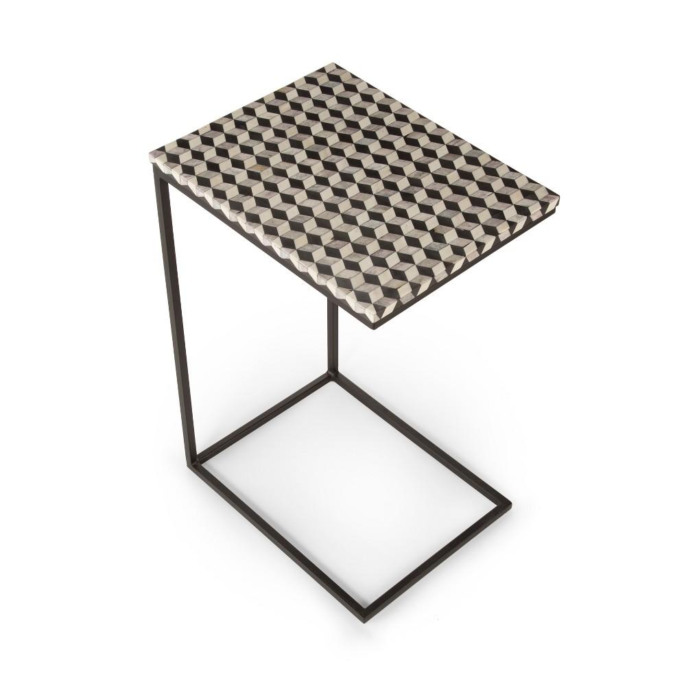 Kimball Chairside Table Black/White - Steve Silver