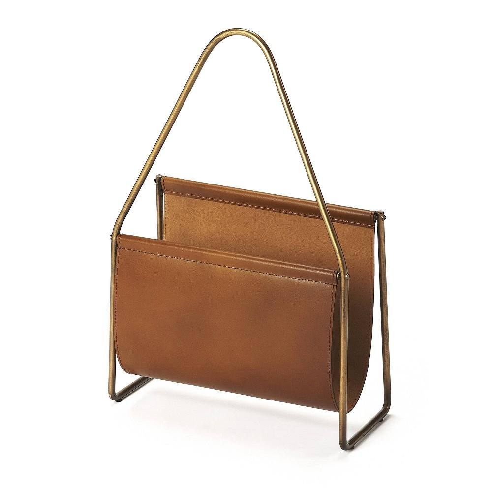 Rupert Leather Magazine Basket Brown - Butler Specialty