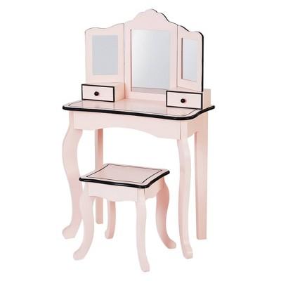 Little Lady Adriana Vanity Set Pink/Black - Teamson Kids