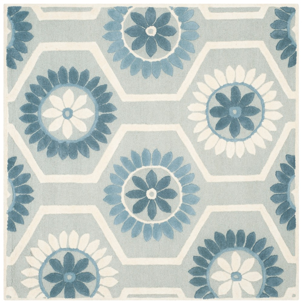 6'X6' Floral Tufted Square Area Rug Blue/Ivory - Safavieh
