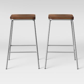 Set of 2 Rhodes Metal/Wood Counter Stool Silver - Project 62™