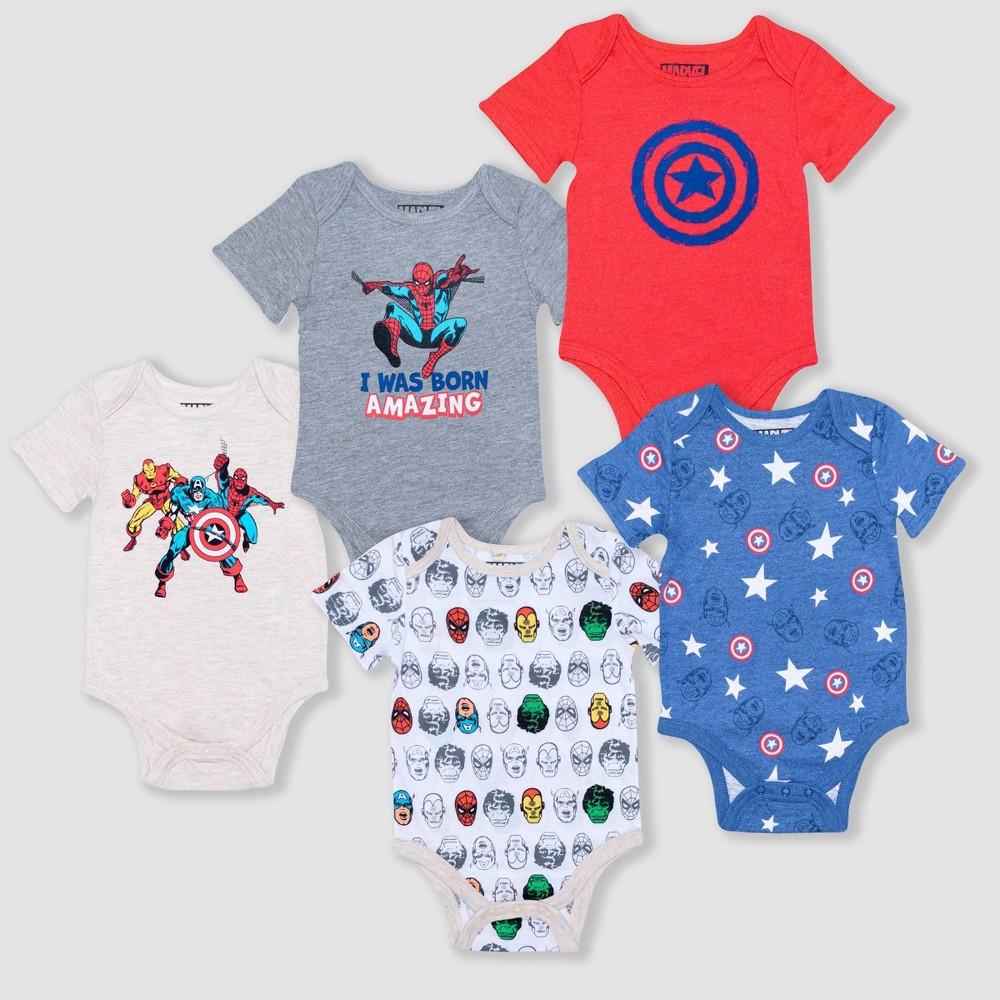 Baby Boys 39 5pk Avengers Bodysuits Newborn