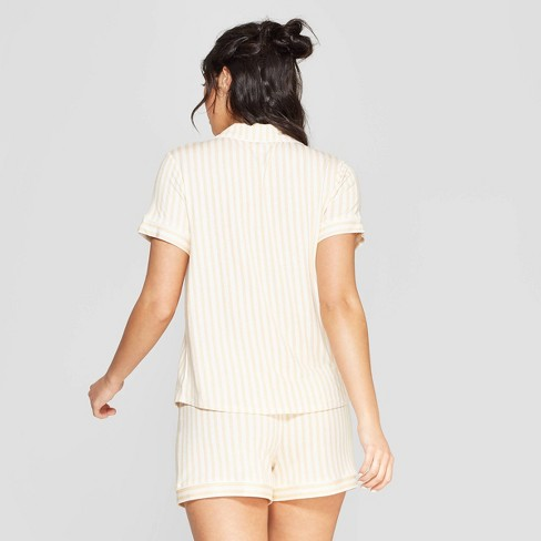 9954fedfbc1a Women s Striped Beautifully Soft Notch Collar Pajama Set - Stars Above™  Yellow   Target