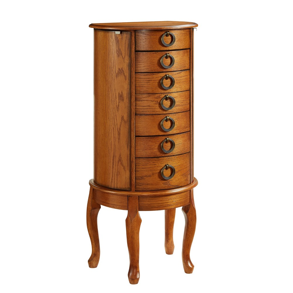 Harper Jewelry Armoire Burnished Oak - Powell Company, Brown