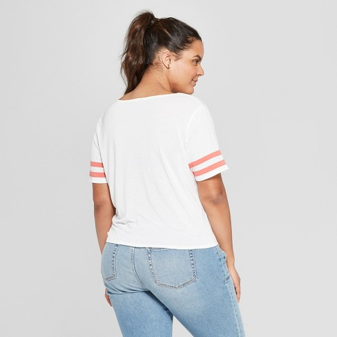 42a8b1c0a Women's DC Comics Power To The Girls' Plus Size Striped Short Sleeve T-Shirt  - (Juniors') - White 2X : Target