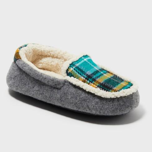 148c2315f04 Boys  Dearfoams Moccasin Slippers - Gray 2-3   Target