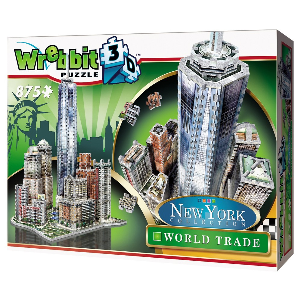 Wrebbit New York World Trade 3D Puzzle 875pc Complete the unique Wrebbit 3D - New York Collection with this 875 pieces 3D puzzle, including the tallest building of the Western Hemisphere, the One World Trade Centre. Surrounding this towering icon are other famous buildings and landmarks, comprising Brookefield Place (1985-87) and Battery Park. Combine all 4 puzzles of the New York Collection and get a 3D puzzle of over 875 pieces. Assembled dimensions: 14.96 inches L x 17.32 inches W x 23.03 inches H. For 14 years old to adults. Choking Hazard! Not for children under 3 years old. Wrebbit3D puzzles are the largest and have the highest piece count of their kind. Snug and tight fitting pieces that are easy to handle. They are the sturdiest 3D puzzles on the market. Highest quality of design and illustration. Made in Canada from non-toxic polyethylene foam. Warning: Choking Hazard - Small parts. Not for children under 3 yrs. Gender: Unisex.