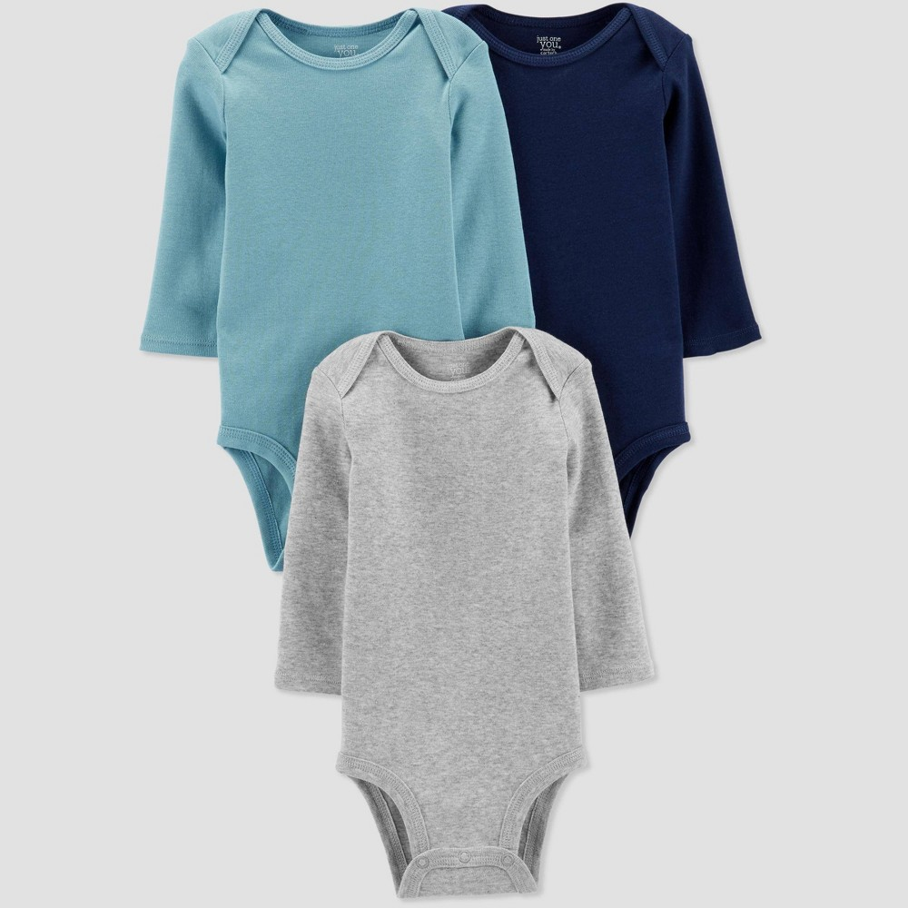 Image of Baby Boys' 3pk Basic Long Sleeve Solid Bodysuits - Just One You made by carter's Blue/Gray 12M, Boy's