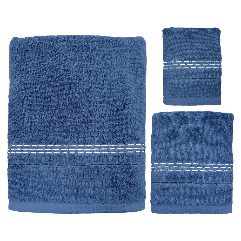 Image of 3pc Dash Bath Towel Sets Blue - Allure Home Creation