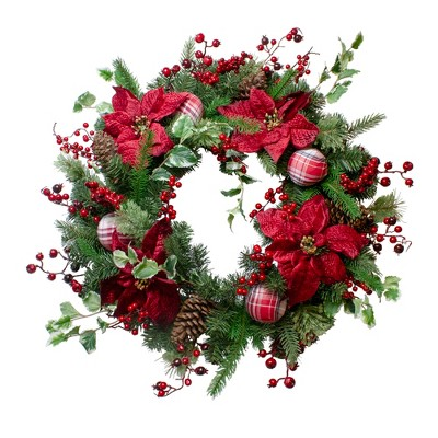 Northlight Poinsettias and Red Berries Artificial Christmas Wreath - 30-Inch, Unlit