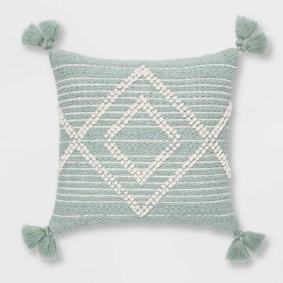 Embroidered Textured Diamond Throw Pillow Aqua - Opalhouse™