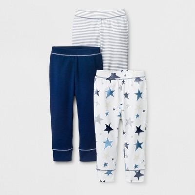 Baby Boys' 3pk Star/Stripe/Solid Pants - Cloud Island™ Blue 0-3M