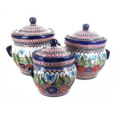 Blue Rose Polish Pottery Floral Butterfly Large Canister Set