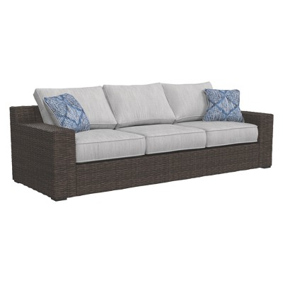 Alta Grande Sofa with Cushion - Beige/Brown - Outdoor by Ashley