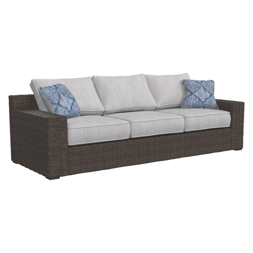 Image of Alta Grande Sofa with Cushion - Beige/Brown - Outdoor by Ashley