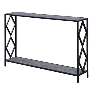 Diamond Metal Console Table Weathered Gray/Black - Breighton Home