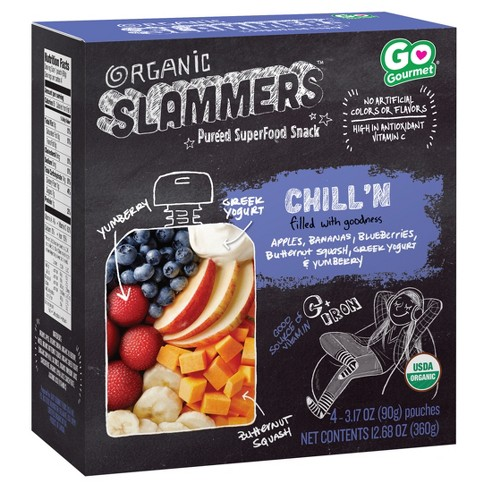 Organic Slammers Superfood Snack Chill'N Fruit, Veggie & Yogurt Filled Pouches 4pk - 3.17oz - image 1 of 3