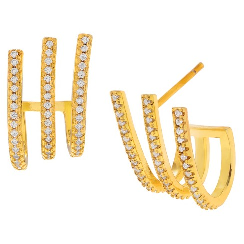 1 CT. T.W. Round-cut Cubic Zirconia 3-Row Huggie Pave Set Earrings in Goldplated Sterling Silver - Gold - image 1 of 2