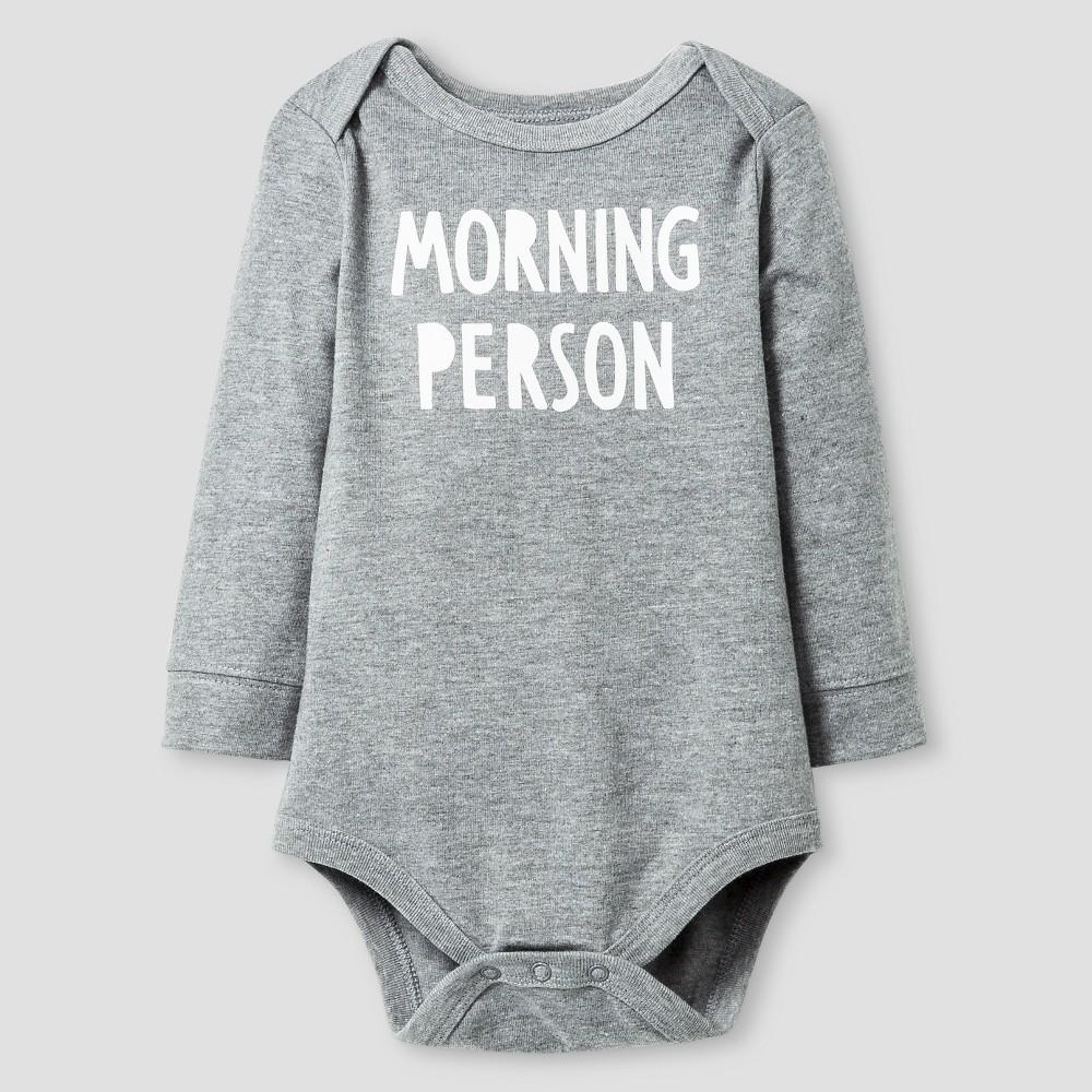 Baby Long Sleeve Morning Person Bodysuit - Cat & Jack Gray 12M, Infant Girl's, Alum Gray