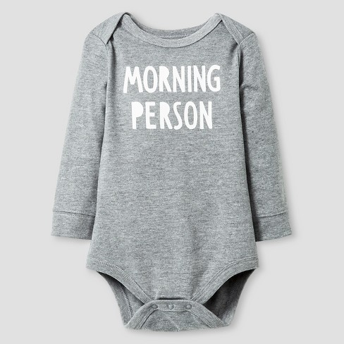 Baby Long Sleeve Morning Person Bodysuit Cat & Jack™ - Gray - image 1 of 1