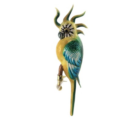 """Morawski 10.75"""" Turquoise Teal Feathered Parrot Ornament Tropical Bird Macaw  -  Tree Ornaments"""