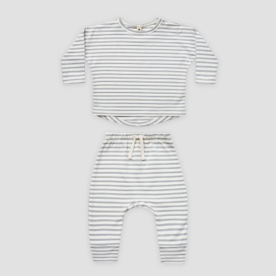 Q by Quincy Mae Baby 2pc Striped Brushed Jersey Top & Bottom Set - Ivory/Blue Fog 6-12M