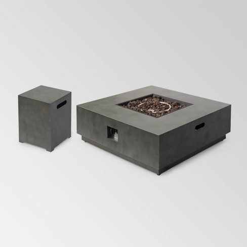 """Wellington Square 40"""" Iron Gas Fire Pit with Tank Holder Dark Gray - Christopher Knight Home - image 1 of 4"""